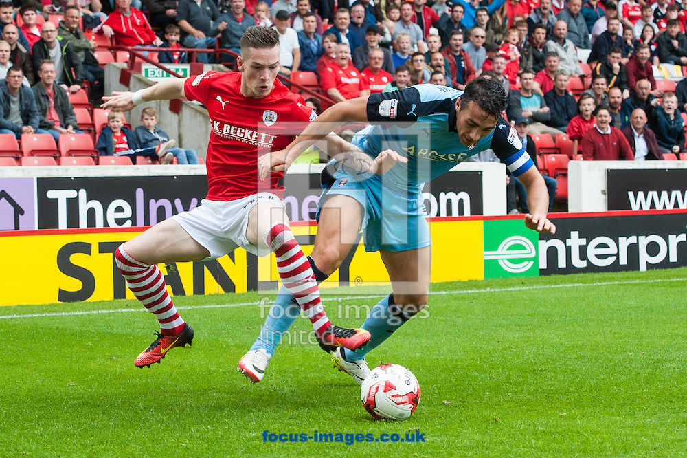 Stephen Kelly of Rotherham United in a battle for possession with Ryan Kent of Barnsley during the Sky Bet Championship match at Oakwell, Barnsley<br /> Picture by Matt Wilkinson/Focus Images Ltd 07814 960751<br /> 27/08/2016