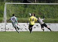 FC Kettledrum (green and white) go 2-1 ahead against Charleston (yellow) in the Dundee Saturday Morning Football League George Mcarthur Memorial Cup Final at Glenesk, Dundee, Photo: David Young<br /> <br />  - &copy; David Young - www.davidyoungphoto.co.uk - email: davidyoungphoto@gmail.com