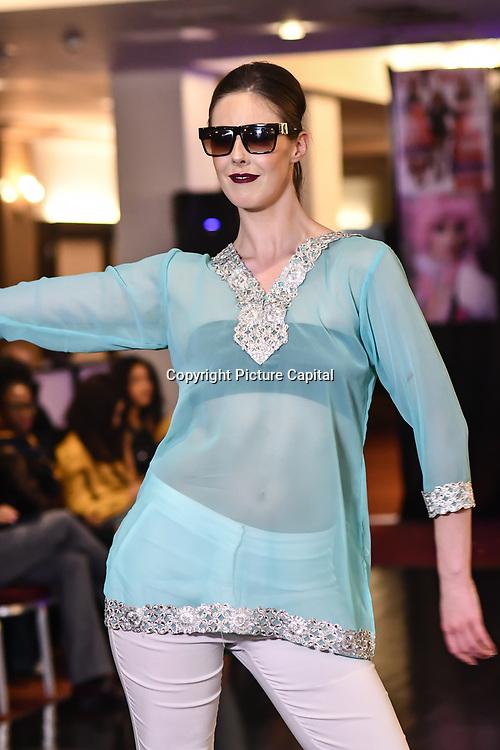 Samina Mughal showcases a set (Bling Style) at SMGlobal Catwalk - London Fashion Week F/W19 at Clayton Crown Hotel,  Cricklewood Broadway, on 1st March 2019, London, UK.