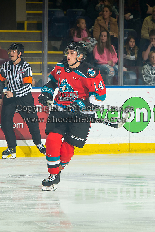 KELOWNA, BC - OCTOBER 12: Elias Carmichael #14 of the Kelowna Rockets skates against the Kamloops Blazers at Prospera Place on October 12, 2019 in Kelowna, Canada. (Photo by Marissa Baecker/Shoot the Breeze)