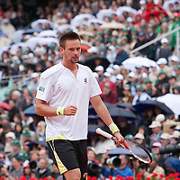 7 June 2009: Robin Soderling of Sweden celebrates during the Men's Singles Final match on day fifteen of the French Open at Roland Garros in Paris, France.