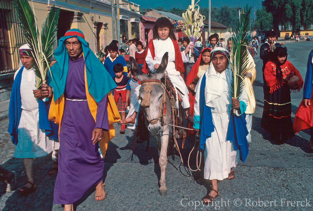 GUATEMALA, FESTIVALS Semana Santa (Easter Week) in Antigua; Palm Sunday, procession of the Christ Child