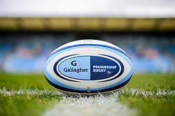 A Gallagher Premiership Rugby match ball on the pitch at Sandy Park prior to kick off - Mandatory by-line: Ryan Hiscott/JMP - 14/04/2019 - RUGBY - Sandy Park - Exeter, England - Exeter Chiefs v Wasps - Gallagher Premiership Rugby