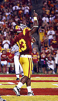 1 September 2007: Tailback #13 Stafon Johnson in action during the USC Trojans college football team defeated the Idaho Vandals 38-10 at the Los Angeles Memorial Coliseum in CA.  NCAA Pac-10 #1 ranked team first game of the season. Johnson points to the heavens in honor to Big Dad, his deceased grandfather.