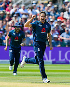 Wicket - Chris Woakes of England celebrates taking the wicket of Fakhar Zaman of Pakistan during the third Royal London One Day International match between England and Pakistan at the Bristol County Ground, Bristol, United Kingdom on 14 May 2019.
