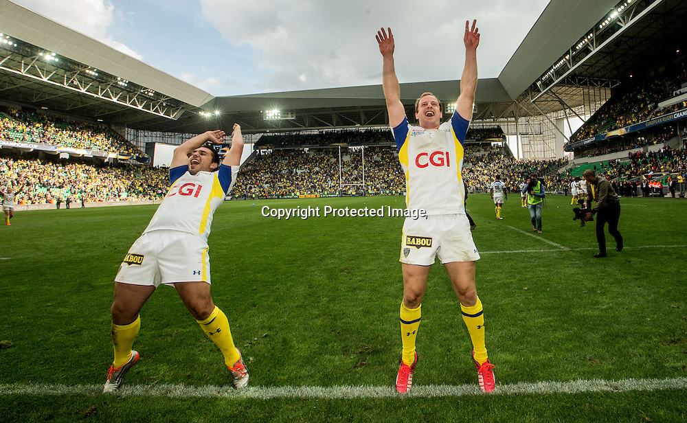 European Rugby Champions Cup Semi-Final, Stade Geoffroy-Guichard, Saint-Etienne, France 18/4/2015<br /> ASM Clermont Auvergne vs Saracens<br /> Clermont's Ludovic Radoslavjevic and Nick Abendanon celebrate<br /> Mandatory Credit &copy;INPHO/James Crombie