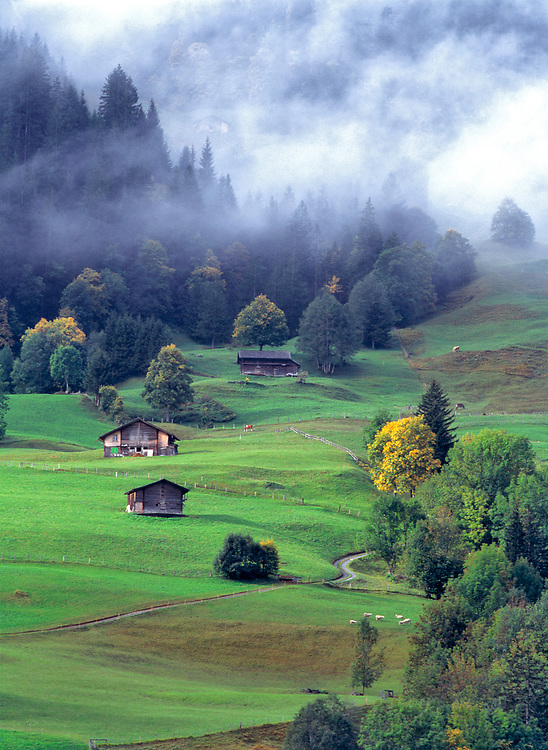 Hay barns are part of the landscape in the Berner Oberland in Switzerland.