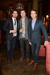 Left to right, HUMPHREY BERNEY, OLLIE BAINES and STEPHEN BOWMAN of Blake at the launch of Rosewood London - a new luxury hotel at 252 High Holborn, London WC1 on 30th October 2013.