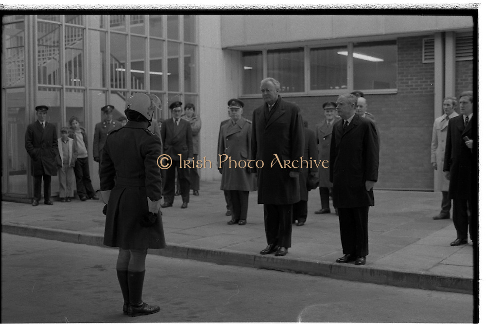 Australian Prime Minister Visits Ireland.   (H79)..1974..23.12.1974..12.23.1974..23rd December 1974..As part of his tour of E.E.C. Capital Cities,Mr Gough Whitlam, the Australian Prime Minister visited Dublin today. In Dublin he will have talks with An Taoiseach, Mr Liam Cosgrave...An Taoiseach,Mr Liam Cosgrave and the Australian prime Minister,Mr Gough Whitlam pictured as they leave the airport being met by the officer in charge of his motorcycle escort.