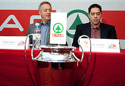 Zmago Sagadin, head coach of Helios Domzale and Saso Filipovski, head coach of Union Olimpija during press conference of KZS before final basketball tournament of Spar Cup 2012, on February 14, 2012, in Austria Trend Hotel, Ljubljana, Slovenia. (Photo by Grega Valancic / Sportida.com)
