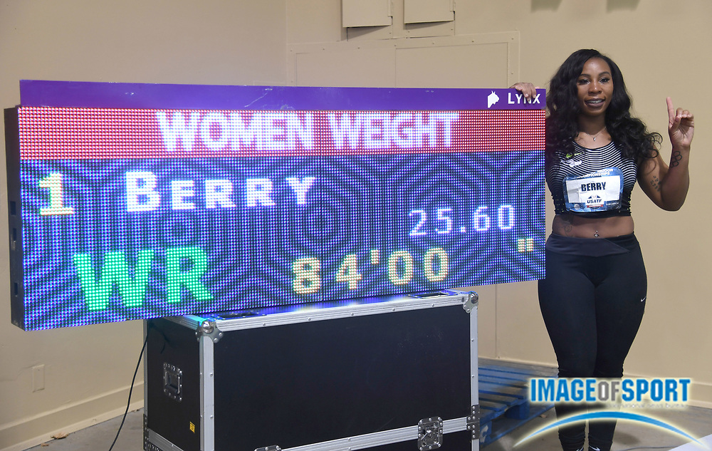 Mar 4, 2017; Albuquerque, NM, USA: Gwen Berry poses after winning the women's weight throw in a world record 84-0 (25.60m) during the USA Indoor Championships at Albuquerque Convention Center.