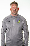 Forest Green Rovers assistant manager, Scott Lindsey during the 2018/19 official team photocall for Forest Green Rovers at the New Lawn, Forest Green, United Kingdom on 30 July 2018. Picture by Shane Healey.