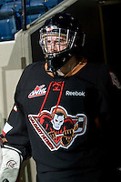 KELOWNA, CANADA, JANUARY 1: Brandon Glover #31 of the Calgary Hitmen enters the ice as the Calgary Hitmen visit the Kelowna Rockets on January 1, 2012 at Prospera Place in Kelowna, British Columbia, Canada (Photo by Marissa Baecker/Getty Images) *** Local Caption ***