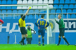 KIEV, UKRAINE - Tuesday, June 5, 2001: Wales' goalkeeper Jason Jones gets a yellow card from referee Jarmoir Hlavac after conceding a penalty during the Under-21 World Cup Qualifying match against Ukraine at the Dynamo Stadium. (Pic by David Rawcliffe/Propaganda)