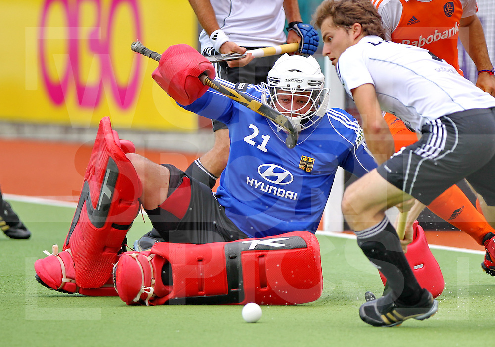 Mens Champions Trophy, Auckland, New Zealand 2011. Day 2 Netherland v Germany 5/12/2011.Netherlands goal keeper Jacob Stockman.Photo: Grant Treeby.one off Editorial Use only,( no archiving )......................Photo: Grant Treeby...Editorial use only (No Archiving) Unless previously arranged