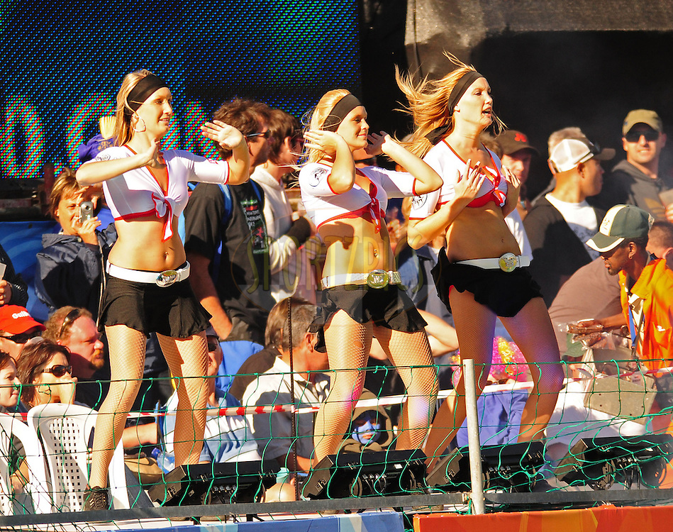 PORT ELIZABETH, SOUTH AFRICA - 2 May 2009.  Cheer leaders get the crowds going during the  IPL Season 2 match between the Deccan chargers vs Rajasthan Royals held at St Georges Park in Port Elizabeth , South Africa.