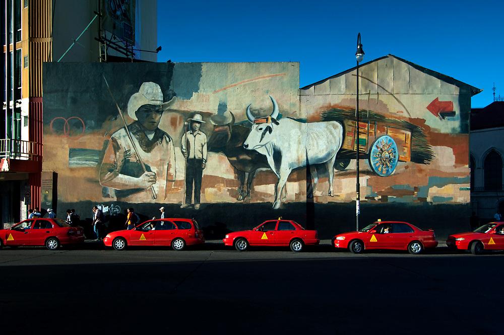 Costa Rica, San Jose, Wall Mural, Campesino, Red Taxi