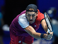 Tennis - 2019 Nitto ATP Finals at The O2 - Day Five<br /> <br /> Doubles Group Jonas Bjorkman: Lukask Kubot & Marcelo Melo vs. Rajeev Ram & Joe Salisbury<br /> <br /> Lukask Kubot in action during their victory 6-7, 6-4, 10-7.<br /> <br /> COLORSPORT/ASHLEY WESTERN