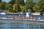 Henley on Thames, England, United Kingdom, 4th July 2019, Henley Royal Regatta, Remenham Challenge Cup, The Tideway Scullers' School and Imperial College, passing the one mile and one eight barrier,  Henley Reach, [© Peter SPURRIER/Intersport Image]<br /> <br /> 11:06:36 1919 - 2019, Royal Henley Peace Regatta Centenary,