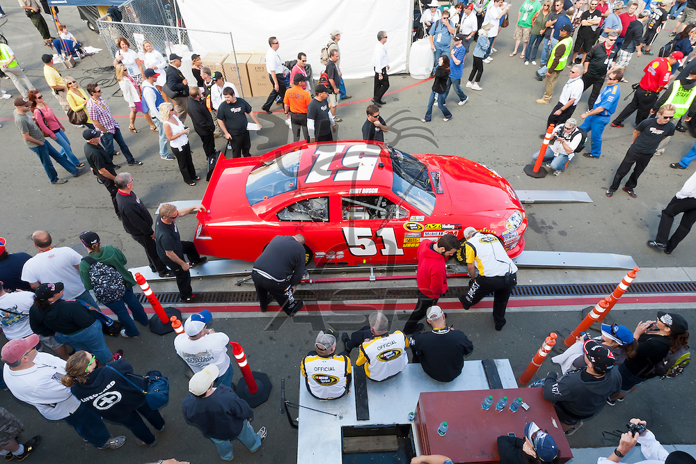 SONOMA, CA - JUN 24, 2012:  The Phoenix Racing Chevrolet goes through inspection before the start of the Toyota Save Mart 350 at the Raceway at Sonoma in Sonoma, CA.