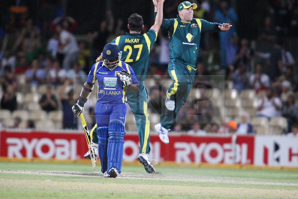 © Licensed to London News Pictures. 08/03/2012. Adelaide Oval, Australia. Clint Mckay & David Warner celebrate as they get Rangana Herath out for a duck during the One Day International cricket match final between Australia Vs Sri Lanka. Photo credit : Asanka Brendon Ratnayake/LNP
