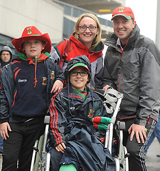 Brenda Chris Emma and Daragh Walsh from Knockmore at the All Ireland Semi Final against Kerry at Croke Park.<br /> Pic Conor McKeown