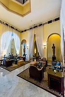 Lobby, Raffles Hotel Le Royal, Phnom Penh, Cambodia.