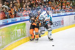 17.03.2019, Merkur Eisstadion, Graz, AUT, EBEL, Moser Medical Graz 99ers vs EHC Liwest Black Wings Linz, Viertelfinale, 3. Spiel, im Bild v.l.: Matthew Caito (Moser Medical Graz 99ers), Dragan Umicevic (EHC Liwest Black Wings Linz) // during the Erste Bank Icehockey 3rd quarterfinal match between Moser Medical Graz 99ers and EHC Liwest Black Wings Linz at the Merkur Eisstadion in Graz, Austria on 2019/03/17. EXPA Pictures © 2019, PhotoCredit: EXPA/ Dominik Angerer