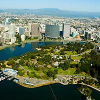 Aerial view of the San Francisco and Oakland California Oakland California