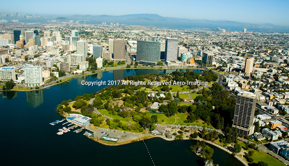 Aerial view of the San Francisco and Oakland California Oakland California