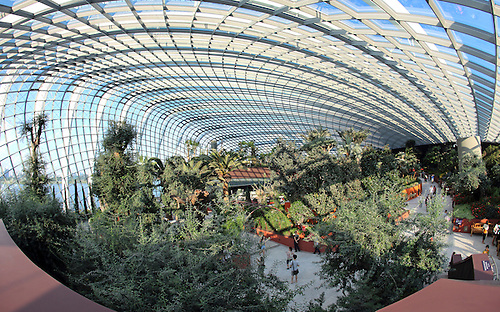 Flower Dome, The Cool Dry Conservatory At Gardens By The Bay In Singapore.