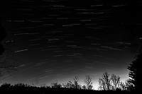 Winter Nighttime Sky Over New Jersey. Composite star trail image 03:30-03:59) taken with a Nikon D810a camera and 19 mm f/4 PC-E lens (ISO 400, 19 mm, f/8, 120 sec). Raw images processed with Capture One Pro and the composite created with Photoshop CC (statistics, maximum). Conversion to B&W with Capture One Pro.