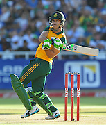 Faf du Plessis of South Africa during the 2015 KFC T20 International game between South Africa and the West Indies at Newlands Cricket Ground, Cape Town on 9 January 2015 ©Ryan Wilkisky/BackpagePix