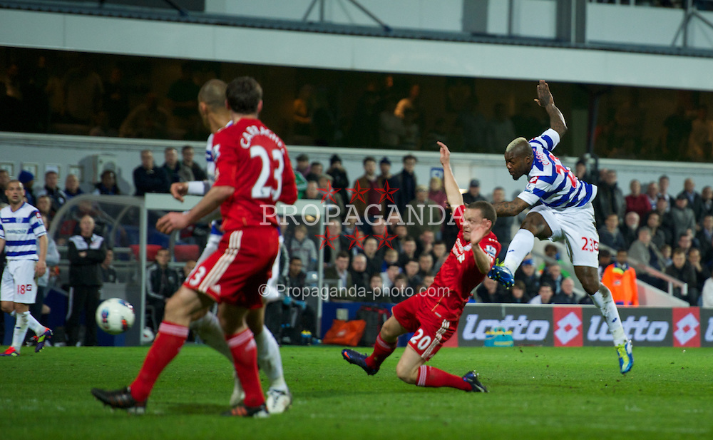 LONDON, ENGLAND - Wednesday, March 21, 2012: Queens Park Rangers' Djibril Cisse shoots against Liverpool during the Premiership match at Loftus Road. (Pic by David Rawcliffe/Propaganda)