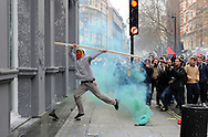 Violence during TUC protest in Central London, targets included HSBC, Lloyds TSB and Natwest Banks, TopShop and Ritz Hotel