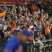 Mets fans cheers as pitcher Jeurys Familia, New York Mets, gets the final out for the save during the New York Mets Vs New York Yankees MLB regular season baseball game at Citi Field, Queens, New York. USA. 18th September 2015. Photo Tim Clayton