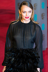 © Licensed to London News Pictures. 14/02/2016. London, UK. LAURA HADDOCK arrives on the red carpet at the EE British Academy Film Awards 2016 Photo credit: Ray Tang/LNP