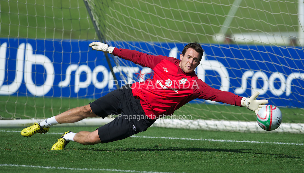 CARDIFF, WALES - Wednesday, September 5, 2012: Wales' goalkeeper Lewis Price during a training session at the Vale of Glamorgan ahead of the Brazil 2014 FIFA World Cup Qualifying Group A match against Belgium. (Pic by David Rawcliffe/Propaganda)