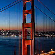 The Golden Gate Bridge at dawn with San Francisco, California in the background
