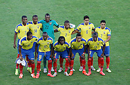 Ecuador line up for a group picture before the 2014 FIFA World Cup Group E match at Maracana Stadium, Rio de Janeiro<br /> Picture by Andrew Tobin/Focus Images Ltd +44 7710 761829<br /> 25/06/2014