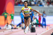 Malaika Mihambo (Germany), 3rd Jump of 7.30m, longest jump of the Women's Long Jump Final competition during the 2019 IAAF World Athletics Championships at Khalifa International Stadium, Doha, Qatar on 6 October 2019.