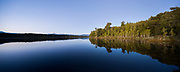 Native forest is reflected in the still waters of Lake Mahinapua on a calm clear morning. West Coast, New Zealand.