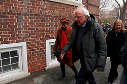 Bernie Sanders, Independent US Senator from Vermont departs after speaking on stage as he kicks-off his campaign for the 2020 U.S. Presidential Elections on a Democratic ticket at a rally at Brooklyn College, in Brooklyn, NY on March 2, 2019.