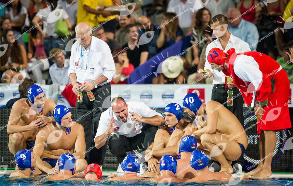 Team Hungary<br /> Spain (White) Vs Hungary (Blue)<br /> LEN European Water Polo Championships 2014<br /> Alfred Hajos -Tamas Szechy Swimming Complex<br /> Margitsziget - Margaret Island<br /> Day01 - July 14 <br /> Photo Giorgio Scala/Inside/Deepbluemedia