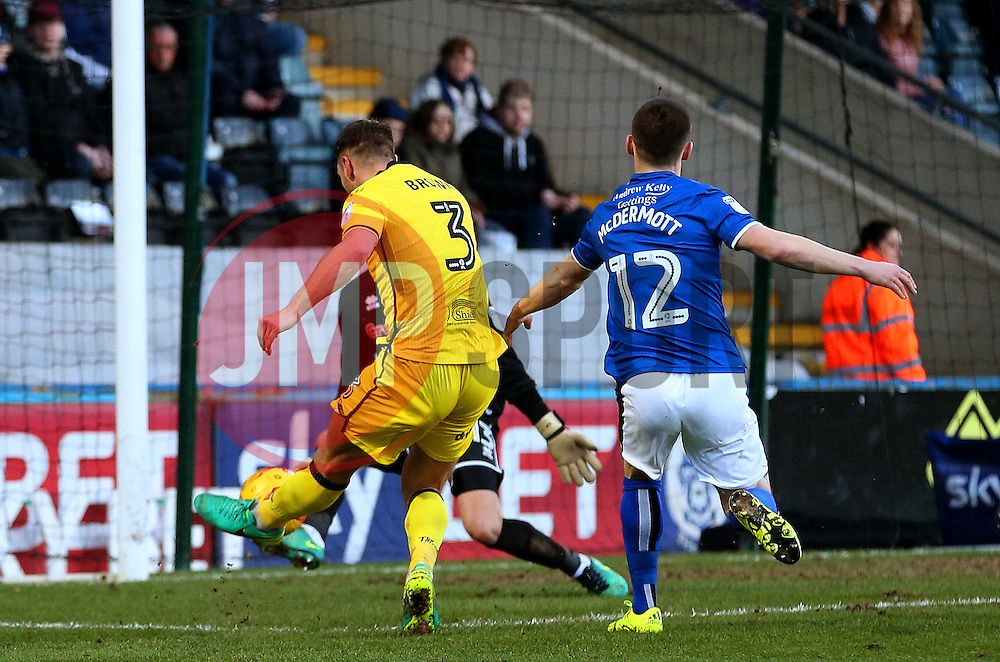 Lee Brown of Bristol Rovers fires a shot at goal  - Mandatory by-line: Matt McNulty/JMP - 04/02/2017 - FOOTBALL - Crown Oil Arena - Rochdale, England - Rochdale v Bristol Rovers - Sky Bet League One