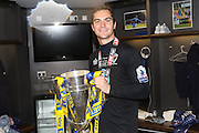 James Shea Goalkeeper for AFC Wimbledon (1) celebrates as AFC Wimbledon win promotion to league 1after the Sky Bet League 2 play off final match between AFC Wimbledon and Plymouth Argyle at Wembley Stadium, London, England on 30 May 2016. Photo by Stuart Butcher.