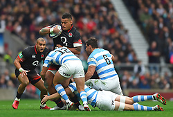 November 11, 2017 - London, England, United Kingdom - England's Nathan Hughes is tackled by Argentina's Santiago Gonzalez Iglesias during Old Mutual Wealth Series between England against Argentina at Twickenham stadium , London on 11 Nov 2017  (Credit Image: © Kieran Galvin/NurPhoto via ZUMA Press)