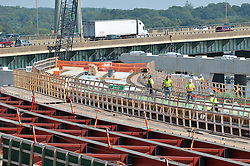 Pearl Harbor Memorial Bridge, New Haven Harbor Crossing Corridor. CT DOT Contract B1 Project No. 92-618 Progress Photography. Northbound West Approaches. Sixth on site photo capture of once every four month chronological documentation. Ramps I and O.