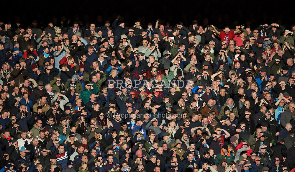 LIVERPOOL, ENGLAND - Saturday, January 31, 2015: West Ham United supporters during the Premier League match against Liverpool at Anfield. (Pic by David Rawcliffe/Propaganda)