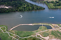 The Colorado River flows toward Austin, Texas as Lake Austin past the Austin Country Club.